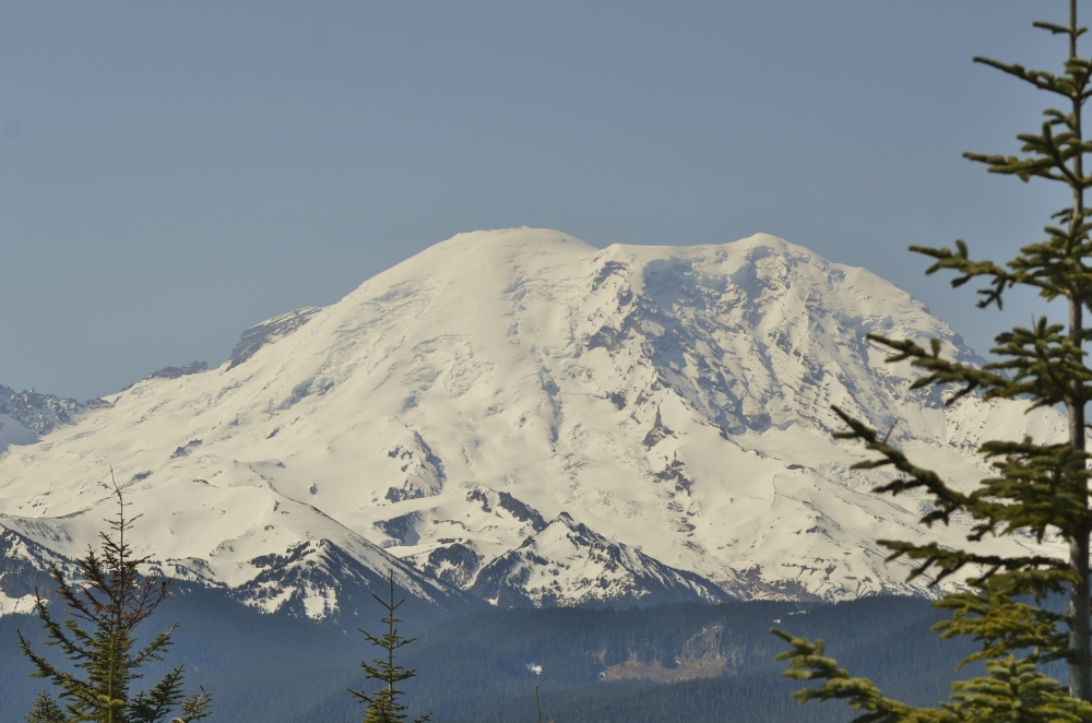 Mount Rainier as seen from Suntop Mountain, 10 miles north. This is a different view of the mountain than I'm used to. (Photo by Craig Craker)
