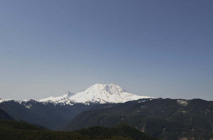 Mt. Rainier's north face shot from the trail up to the Suntop Mountain summit. The mountain is just 10 miles away at this point - which is almost too close to show the true scope of how huge it really is. (Photo by Craig Craker)