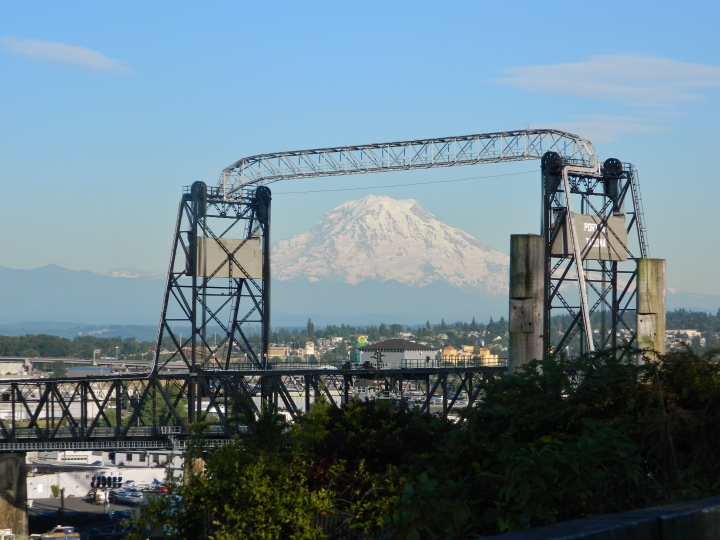 The Murray Morgan Bridge frames Mt. Rainier on a gorgeous sunny day in June 2014. You can get this shot from Fireman's Park in downtown Tacoma. (Photo by Craig Craker)