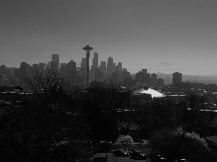 Kerry Park has the best views of Seattle you can ask for. And if it is clear, you get the added bonus of Mt. Rainier in the distance. On the day we went, it was extremely hazy and the only way to get Rainier to show up at all was to convert the photo to black and white, and even then Rainier is just visible in the back right. (Photo by Craig Craker)