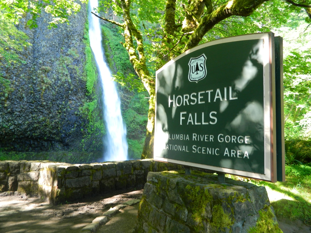 Horsetail Falls is right on the Old Columbia River Highway, which runs parallel to Interstate 84 in the Columbia River Gorge in Oregon.