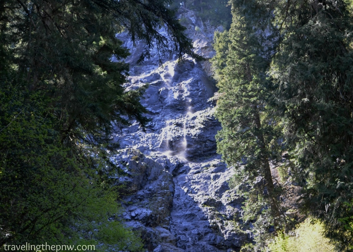 Initially we thought this was Skookum Falls and were a bit disappointed. This was beautiful in its own right, though. A very gentle stream, misting down the side of a giant rockface. It has no name, as far as I can find online.