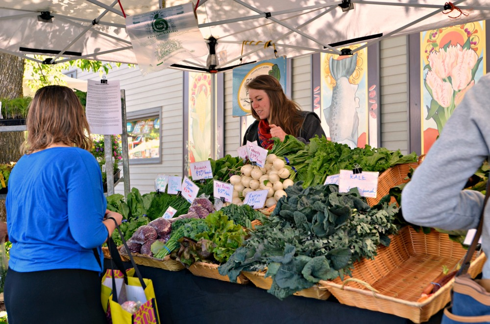 Taking time to speak to the farmers is all part of the shopping experience.