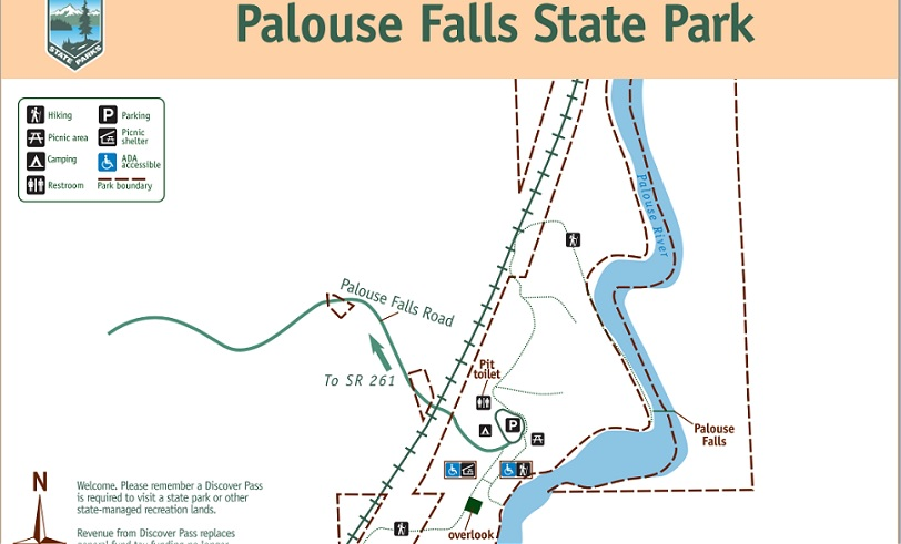 Palouse Falls State Park map courtesy of the Washington State Parks website.