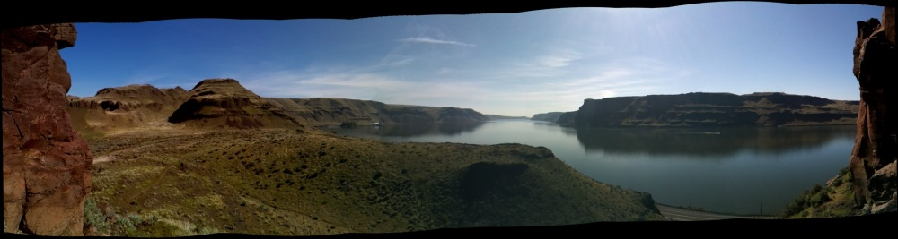 An iPhone panorama of the Wallula Gap shot from between the two sisters.