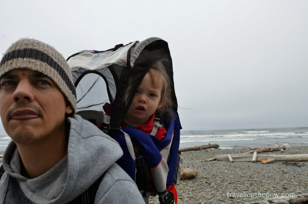 Craig and Catarina in awe of Ruby Beach. Or tired. Or cold. Hard to say, really.