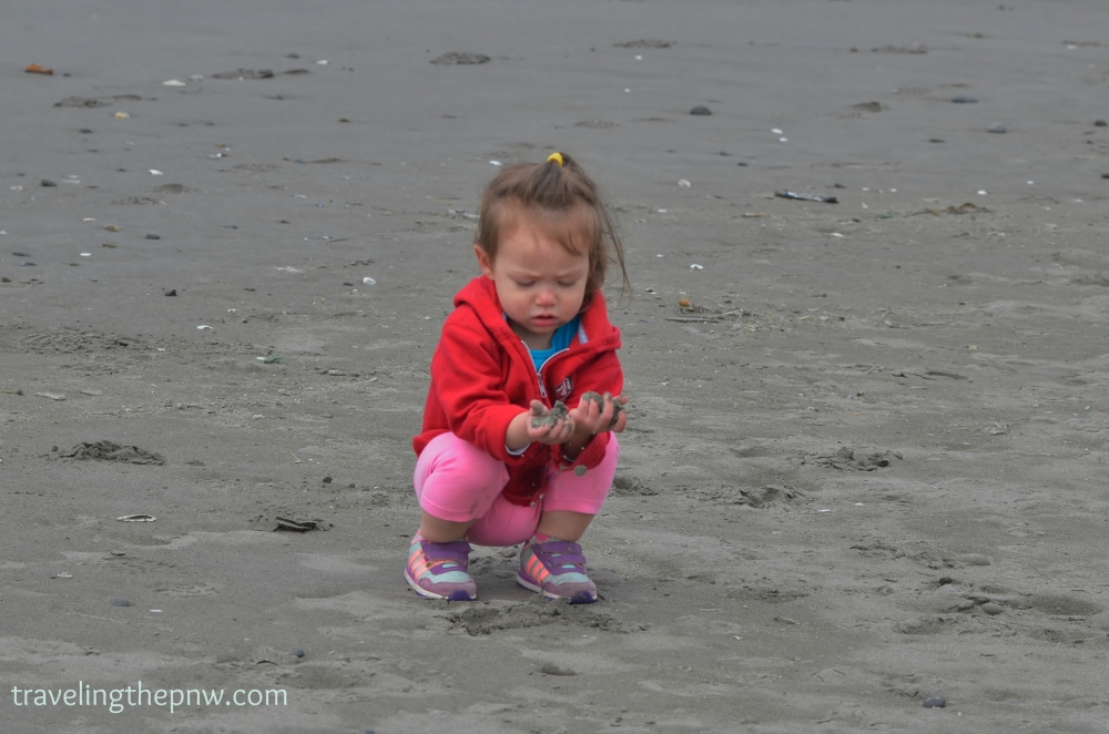 Catarina loves the beach. So, when we actually go to one that has sand, she goes crazy running around, throwing it, laying in it, digging, etc.