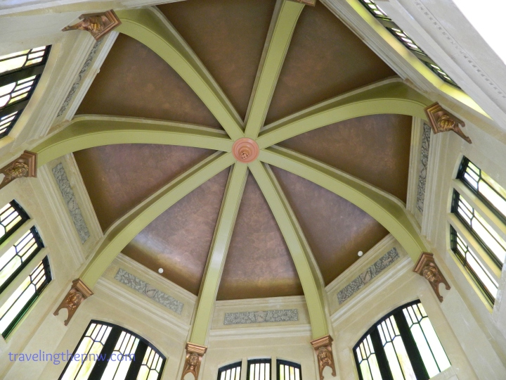 The interior of the Vista House is stunning. Stained glass windows, Alaskan marble, and this amazing roof. It is a must see if you are driving on I-84 in Oregon.