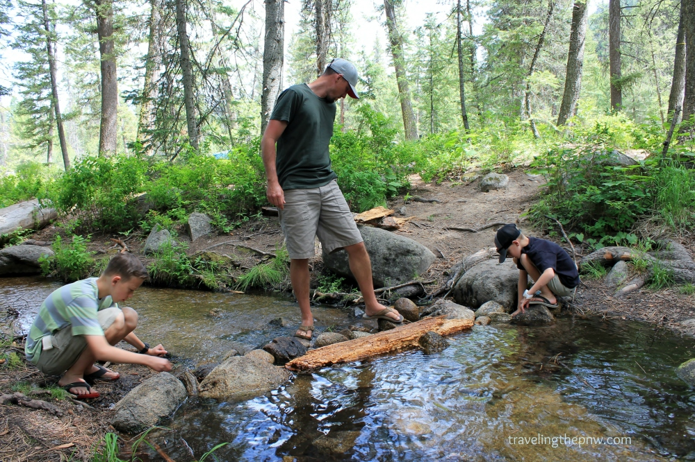 Damming Chipmunk Creek was fun for the whole family, as Andrew, left, Dustin and Ethan join in.