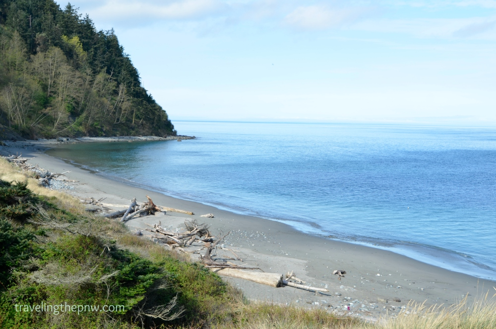 A very calm Pacific Ocean at Fort Worden State Park.