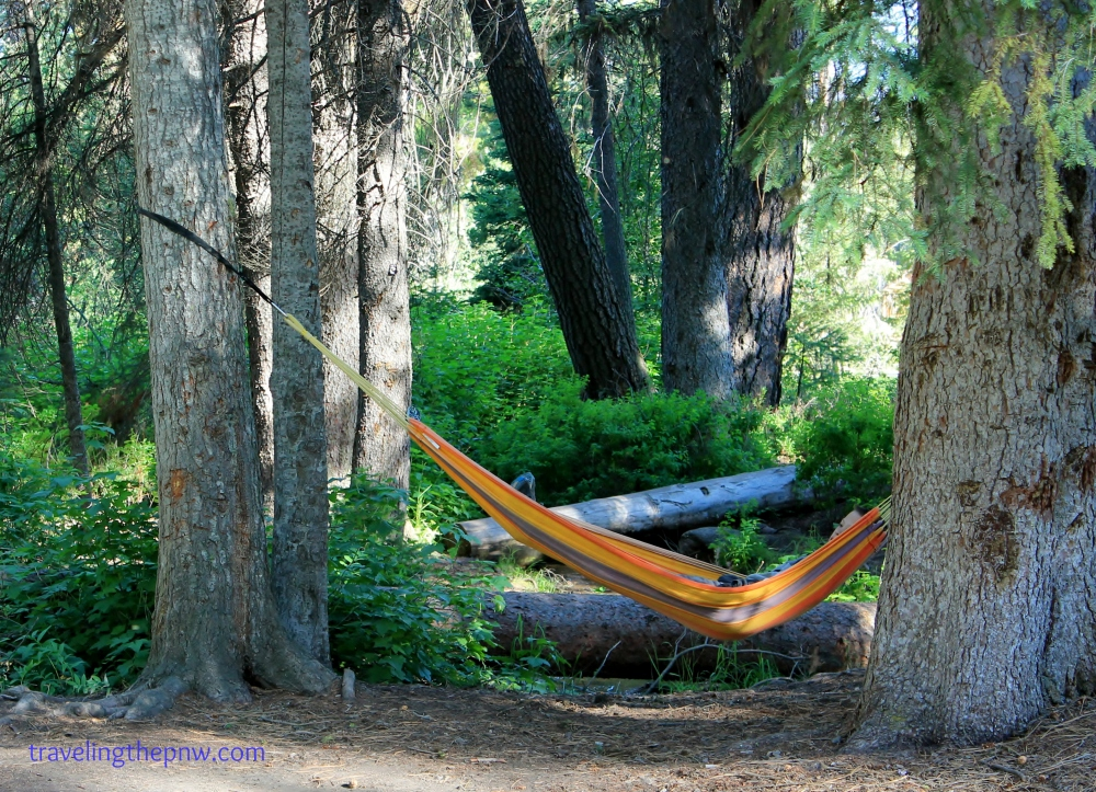 The Warm Lake Campground offered plenty of shady trees, and a wonderful place to hang our hammock. Ethan enjoyed it in this photo.