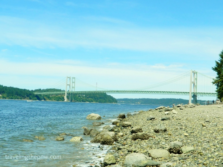 Titlow Beach in Tacoma offers sweeping views of the Narrows Bridges.