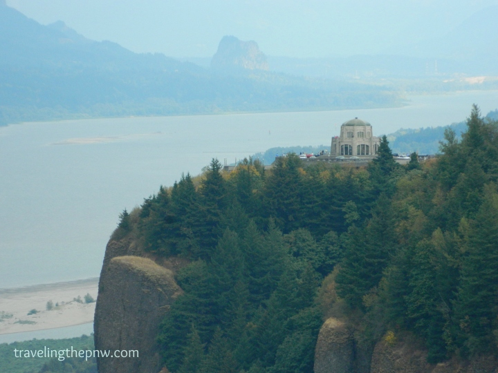 The Vista House atop Crown Point with Beacon Rock looming in the background in the smoky haze. Stopping at the Women's Forum State Park just down the road from the Vista House affords awesome views as well.