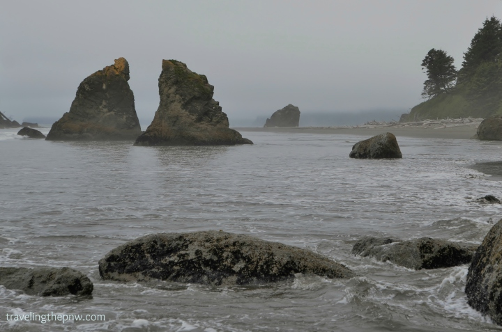 I loved this pair of sea stacks jutting up out of the water in a near mirror image of each other.