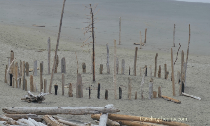 Someone built this wood version of Stonehenge at Kalaloch Beach. It was pretty creepy looking in the fog.