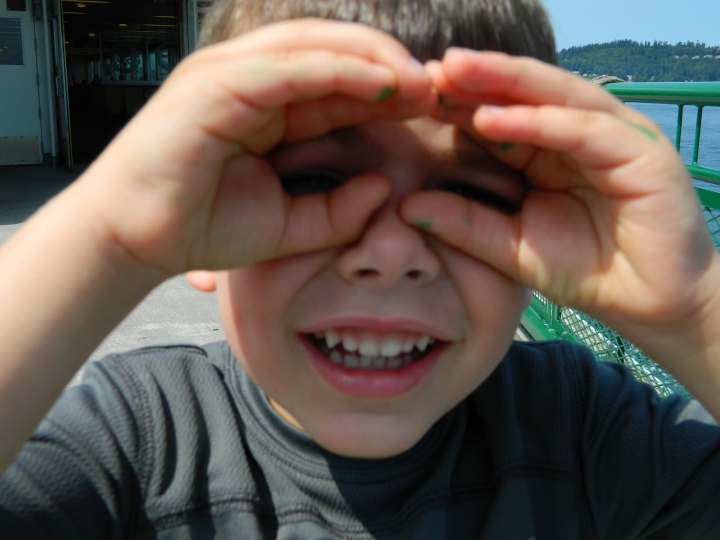 Our nephew Emmett hamming it up on the ferry ride to the Olympic Peninsula.