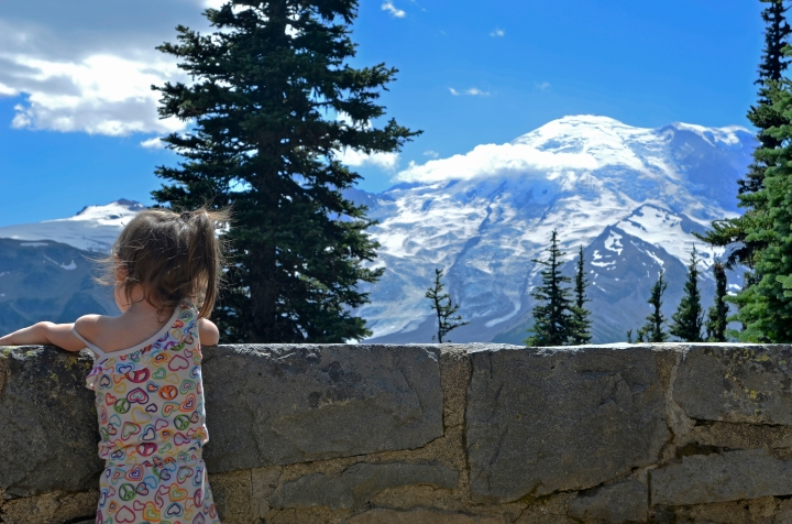 Catarina enjoying the scenery from one of the glacier overlooks.