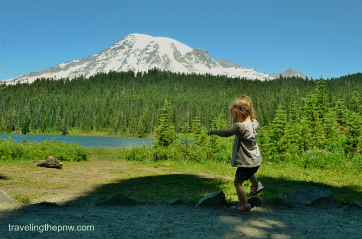Catarina loved Reflection Lake, as it gave her a flat place to run around and climb on the rocks.