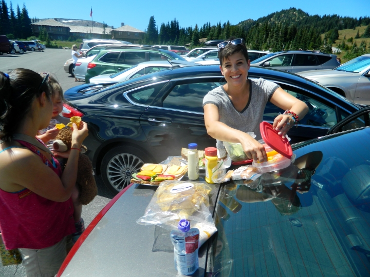 After our never ending drive to Sunrise, Veronica, left, Catarina, Olivia and I enjoyed a picnic in the parking lot.