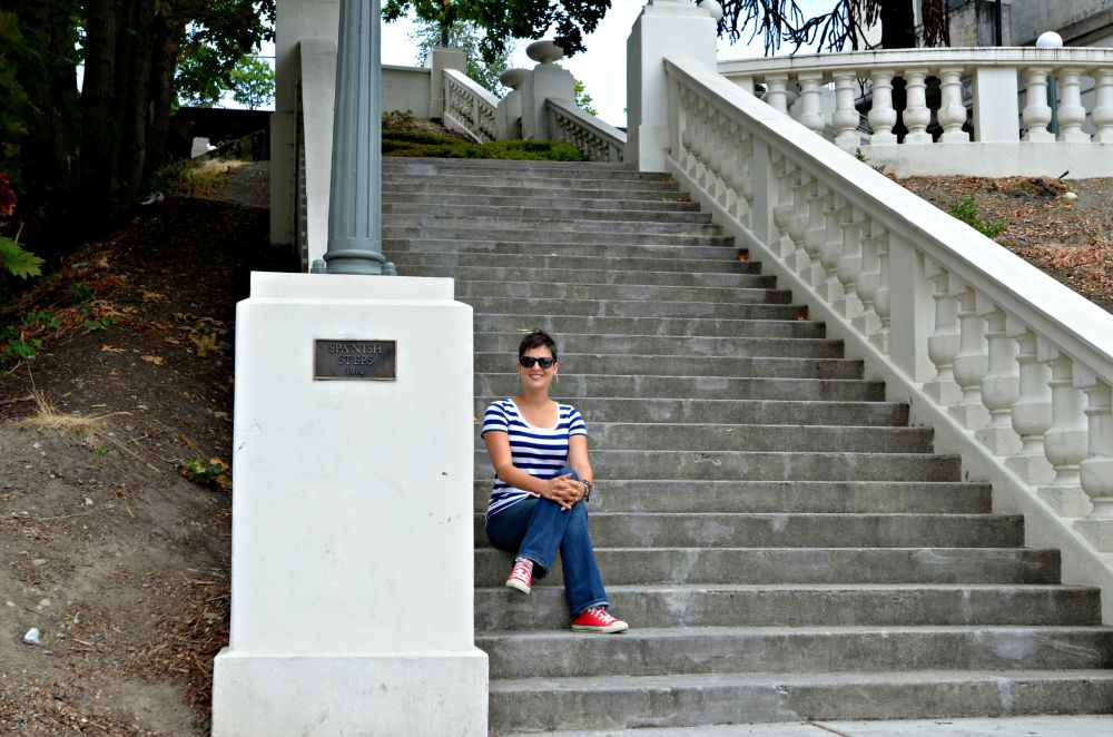 Liv enjoying the comfort of the Spanish Steps in downtown Tacoma.