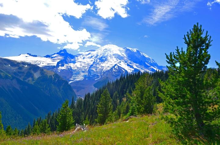 Mount Rainier towers over the landscape.
