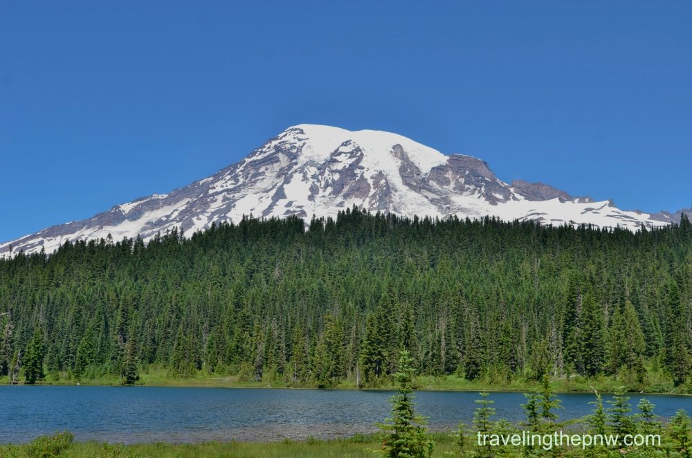Mt. Rainier sits above Reflection Lake in the southwest corner of Mt. Rainier National Park. The lake used to have a bustling lodge, fishing and much more near it, before it was all cleared out and turned into a peaceful place to sit and admire the surrounding beauty.