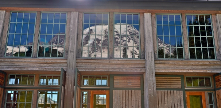 Mount Rainier reflected in the windows of the Jackson Visitor Center.