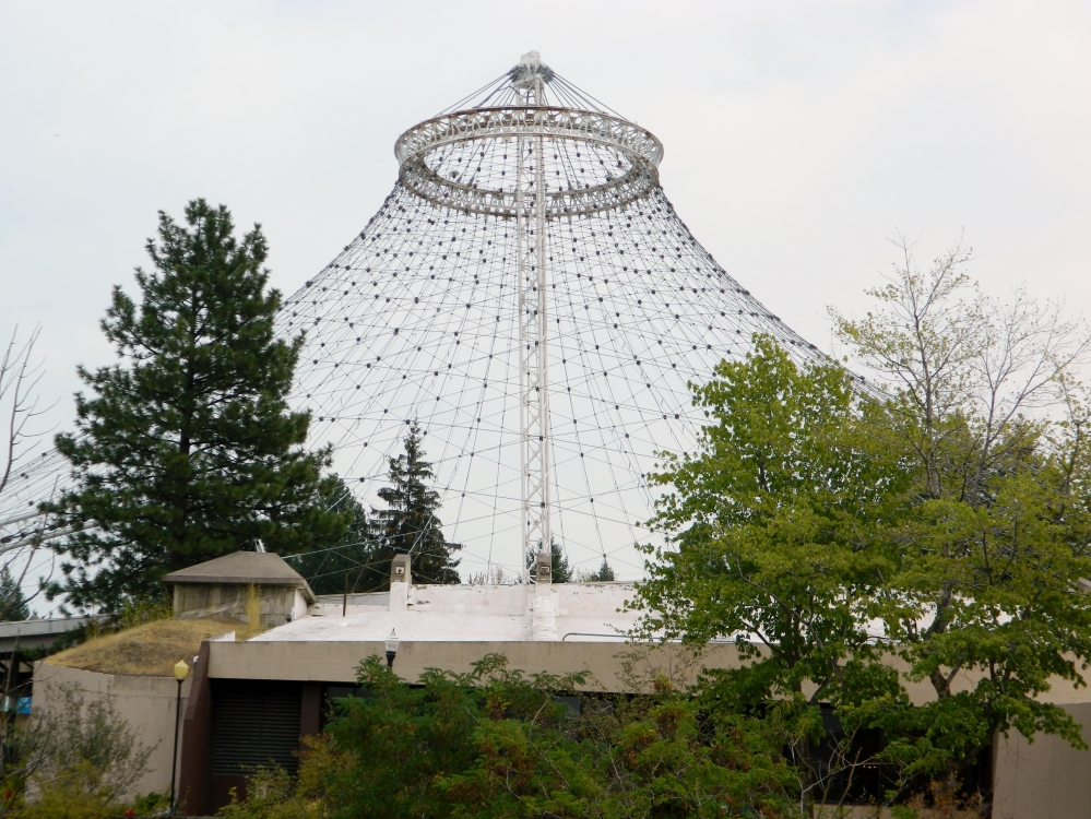 The Pavilion was built for the 1974 World's Fair in Spokane. During the fair it was covered with a cloth. These days it has different color lights on it that are lit up at night.