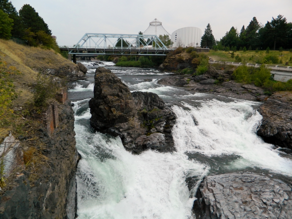 Spokane Falls is beautiful even when the water is low in the summer.