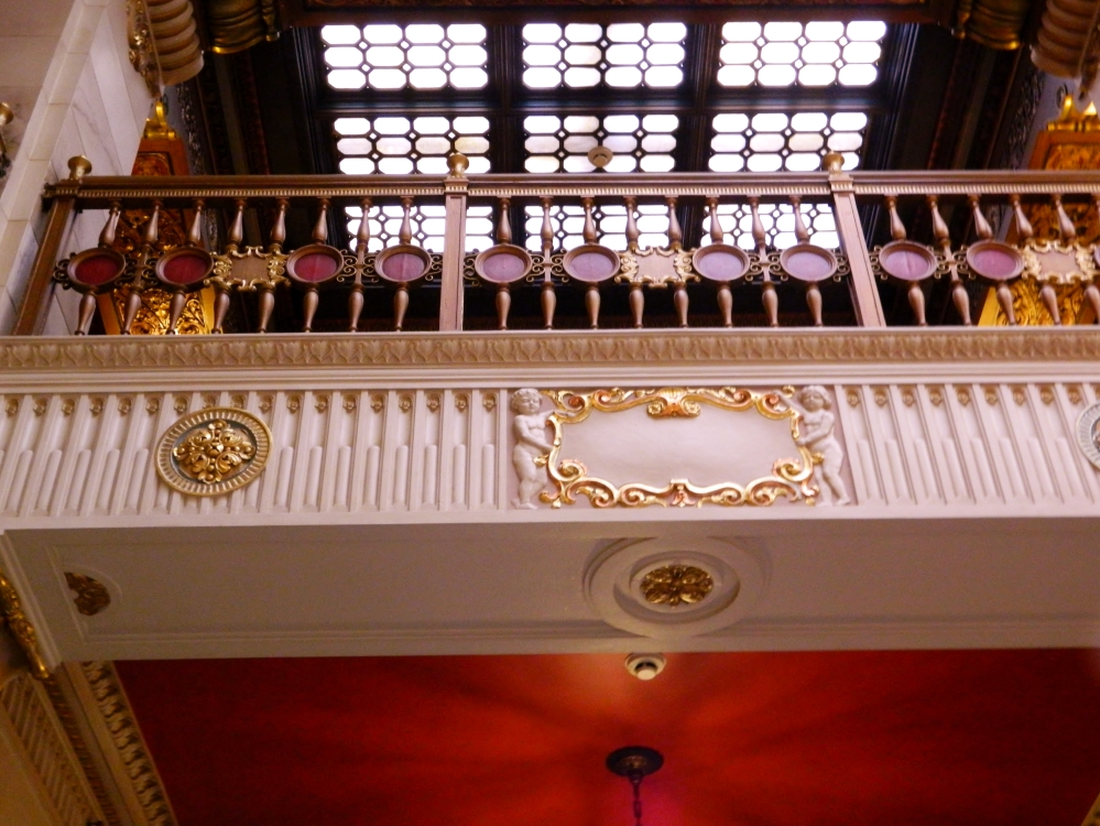 Looking up at some of the detail in the lobby of the Davenport.