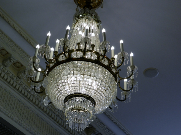 One of the three chandeliers in the Maria Antoinette Ballroom, which cost the hotel $10,000 each in 1914.