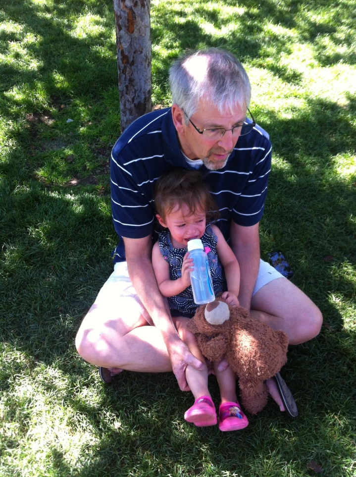 Papa Randy fought the battle of wills with a weeping Catarina, eventually convincing her to just hang out and drink her bottle.