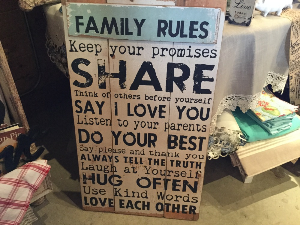A fun sign at an antique store at one of the Green Bluff farms.