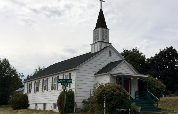 The Green Bluff church.