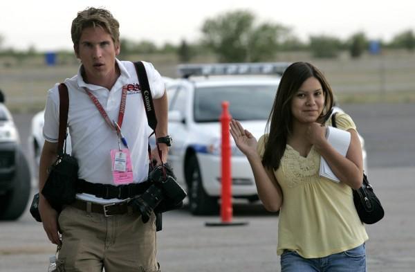 Veronica and former OA Photographer Josh Scheide ready to work.