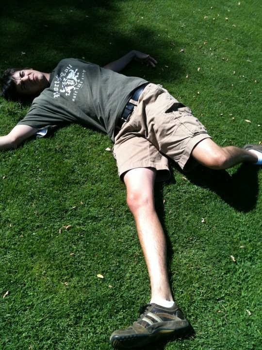 Craig has always been one for gallows humor. Here he pretends to have died in the massacre.