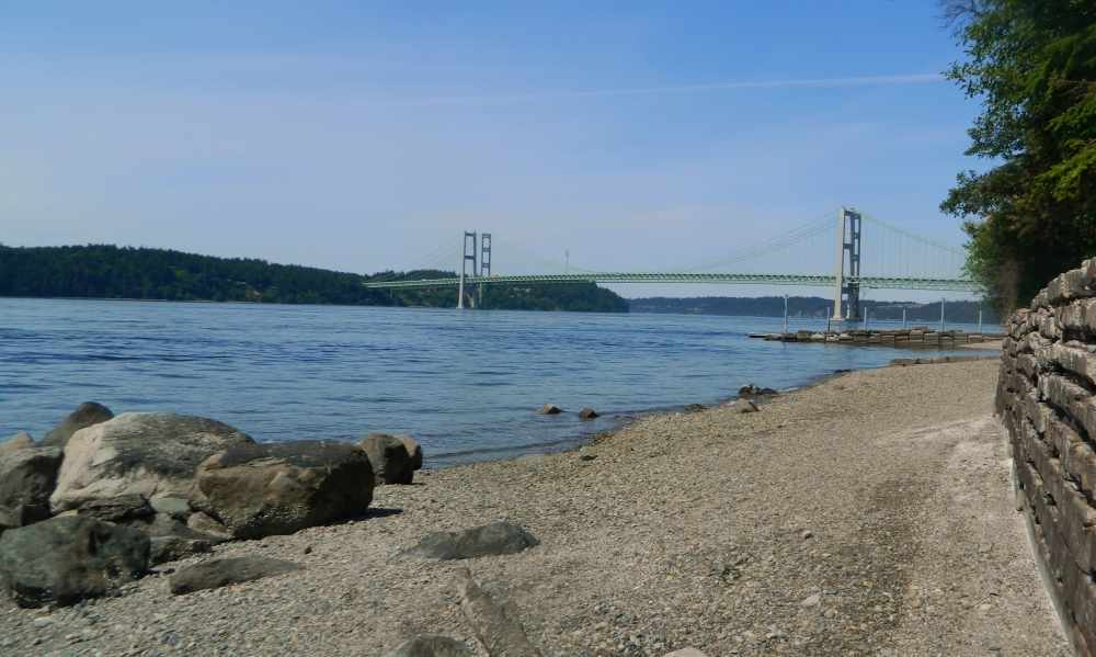 Titlow Beach in Tacoma offers dramatic panoramic views of the Narrows Bridge.