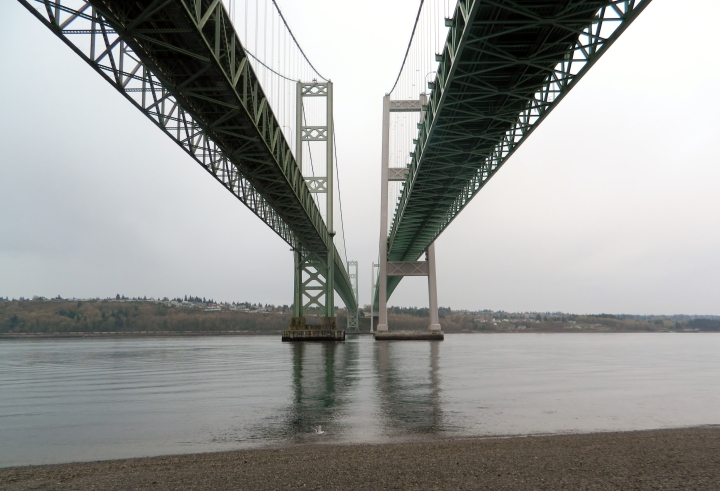 Hidden Beach in Gig Harbor allows you to stand directly underneath the mighty Narrows Bridge.