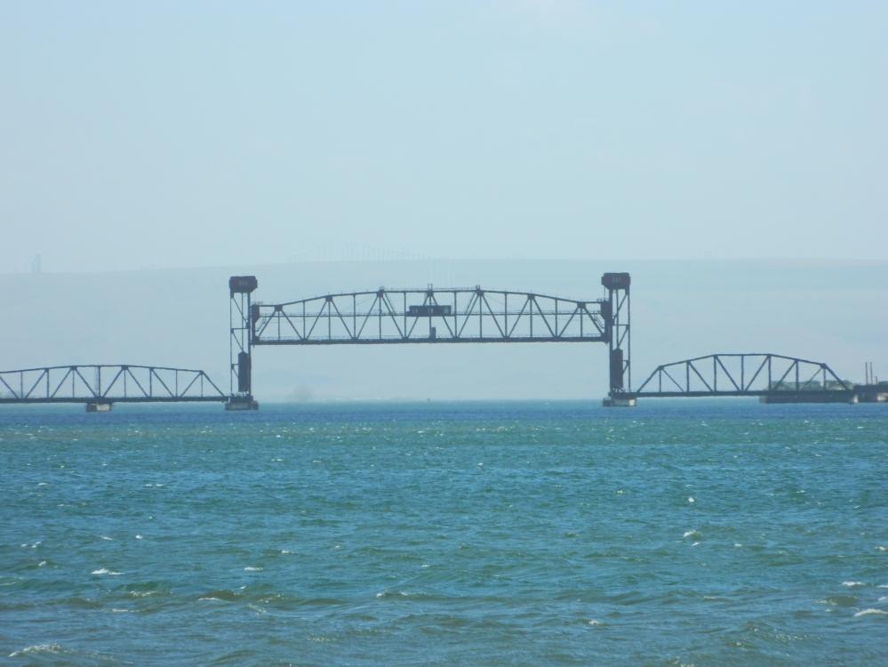 A train bridge on the Columbia River near Kennewick.