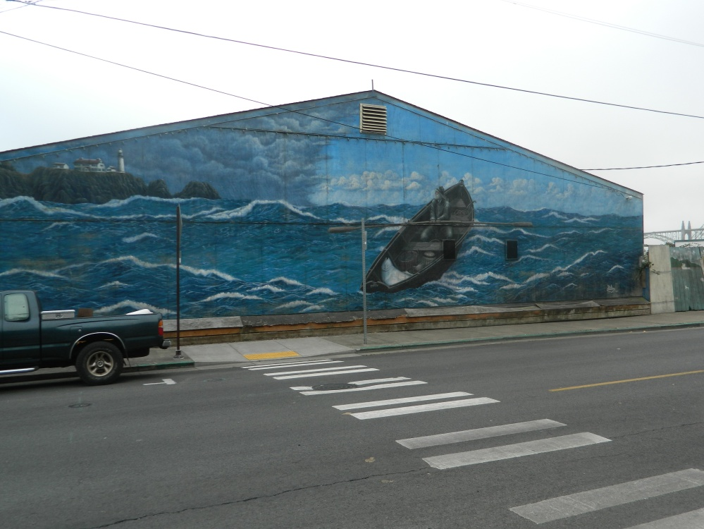 Many of the buildings in downtown Newport had beautiful murals painted onto them.