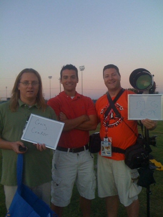 The old crew. Former Odessa American sports editor Chris Gove, left, former Permian beat writer Joel A. Erickson, and photographer extraordinaire Kevin Buehler.
