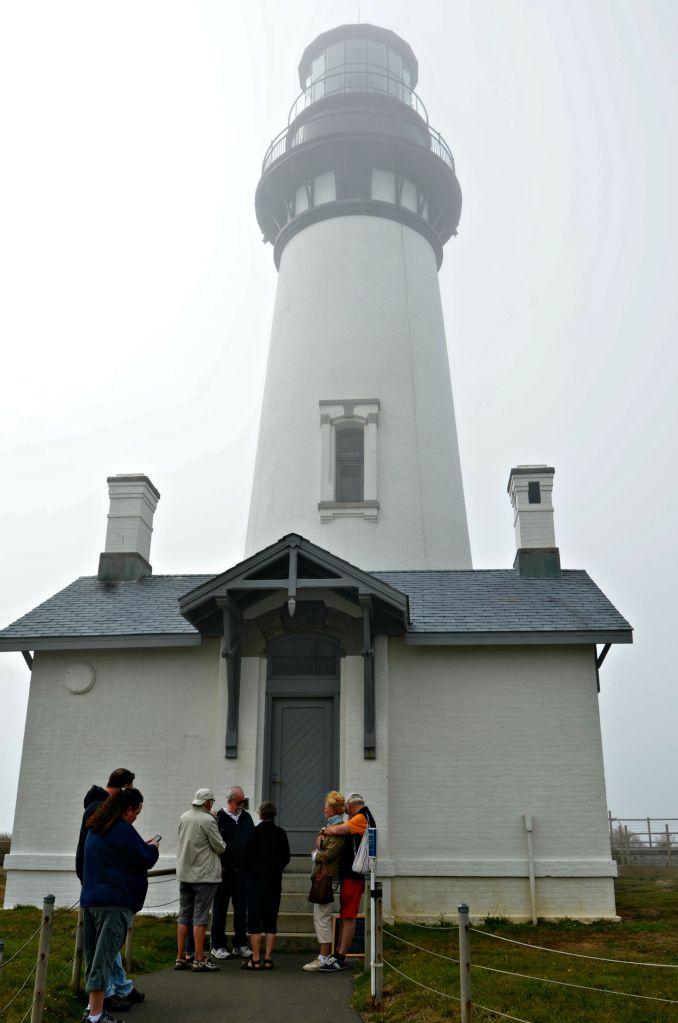 The Yaquina Head Lighthouse shrouded in fog.