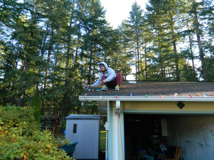 Tori said she wanted to climb on the roof, so I put her to work immediately.