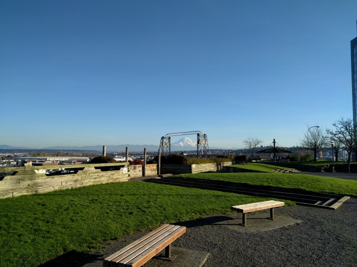 The views on a sunny day of Mt. Rainier from Fireman's Park in downtown Tacoma are amazing.