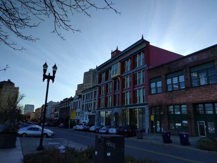 In the historic district in downtown Tacoma a lot of the really old buildings are painted bright colors, which is fun.