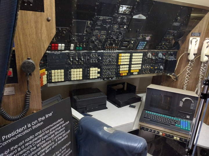 The state of the art communications center inside the Air Force One that was used when John F. Kennedy and Lyndon B. Johnson were presidents.