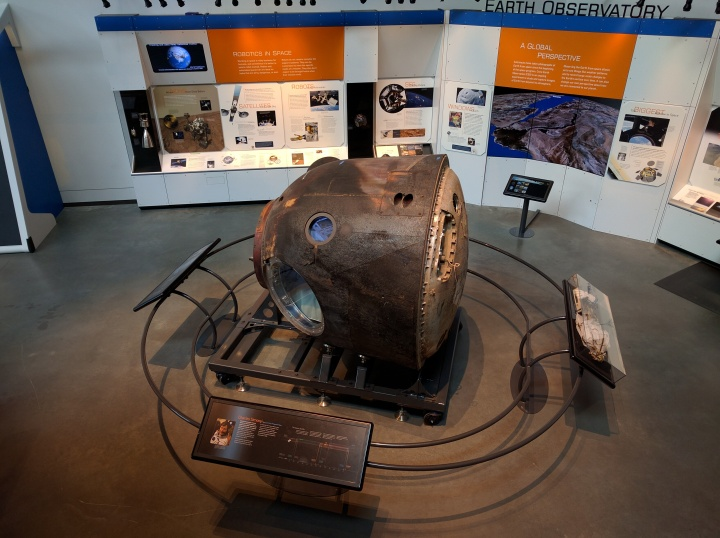 A Russian Soyuz capsule which was developed in the 1960s for flights to space, and a variation is still used today.