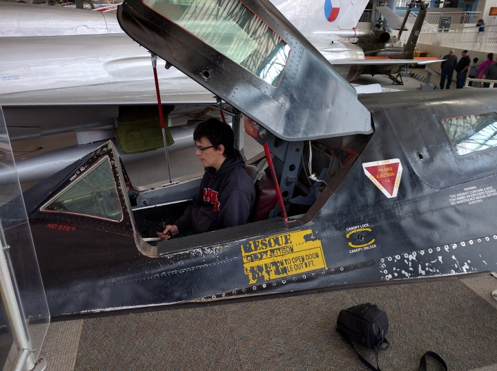 Me pretending to fly over Russia during the Cold War. This SR-71 Blackbird cockpit is on display at the Museum of Flight in Seattle.