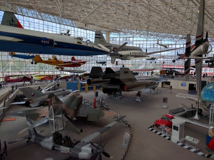 The museum's Great Gallery features numerous aircraft, including fighter jets, helicopters and plane cars.