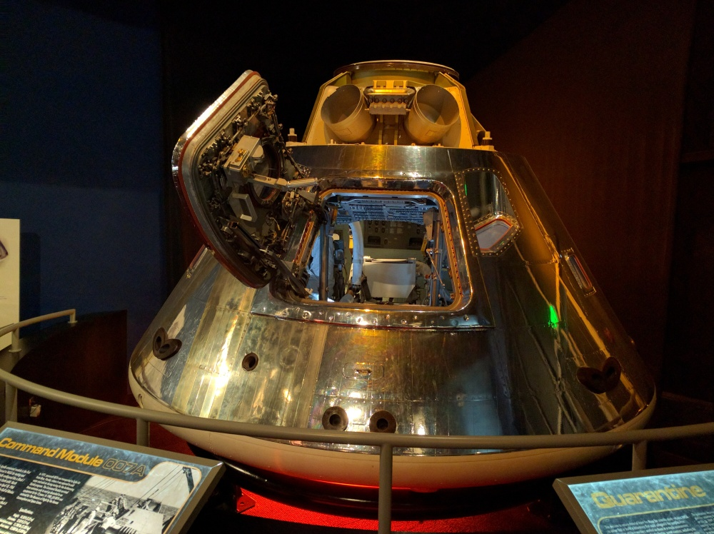 An Apollo capsule, which held three astronauts. Can you imagine flying into outer space in this sucker?